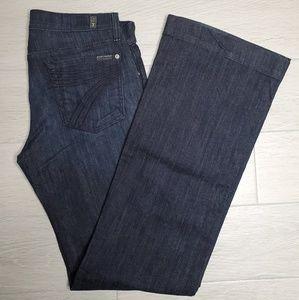 7 For All Mankind Jeans - •7FAM• Dojo Flare Leg Dark Wash Jean Sz 30.